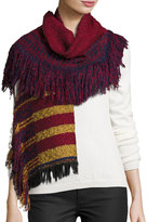 Neiman Marcus Striped Fringe Knit Scarf, Red/Multi