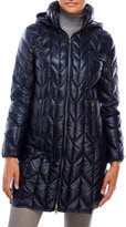 Via Spiga Hooded Chevron Packable Down Coat