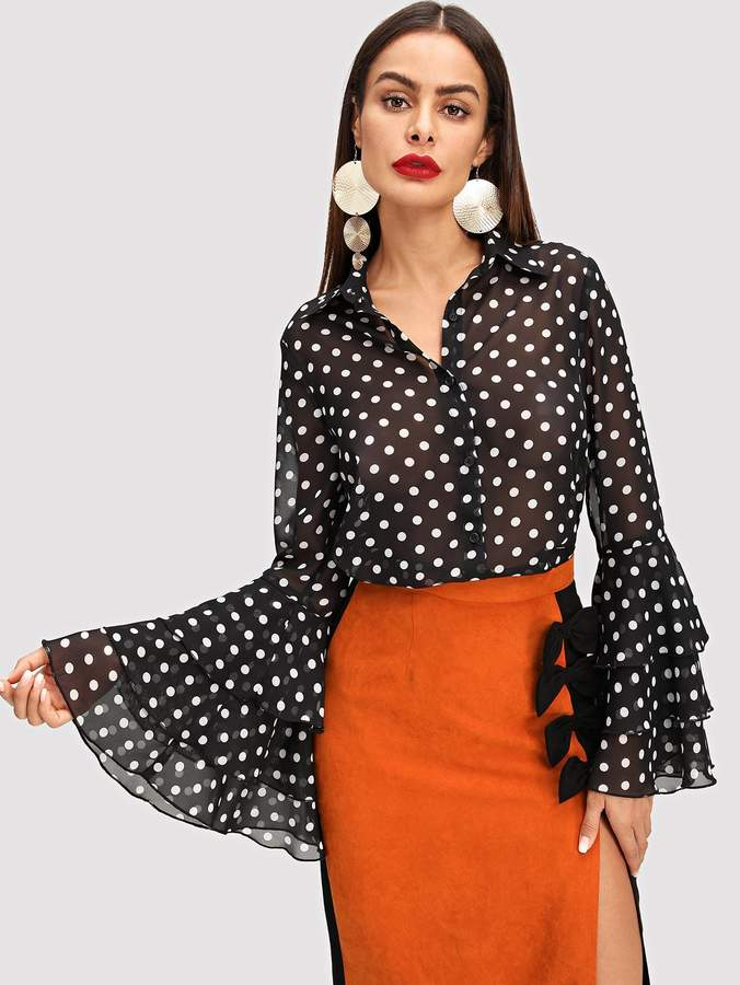 Shein Tiered Bell Sleeve Polka Dot Semi-Sheer Blouse