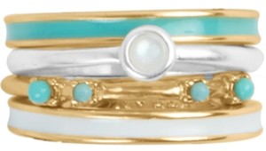 Lucky Brand Two-Tone 4-Pc. Set Mother-of-Pearl & Bead Stack Rings