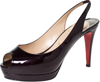 Christian Louboutin Dark Burgundy Patent Leather Lady Peep Platform Slingback Sandals Size 37.5