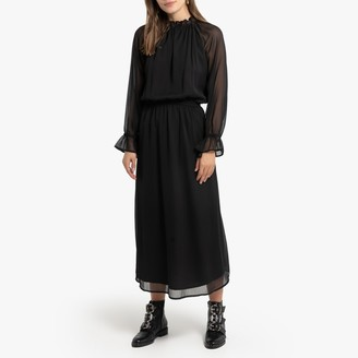 La Redoute Collections Ruffled Boho Midi Dress with Long Sleeves