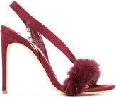 Olgana - asymmetric sandals - women - Mink Fur/Silk Satin - 36