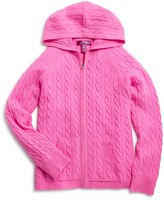 Aqua Girls' Cashmere Cableknit Hoodie, Big Kid - 100% Exclusive
