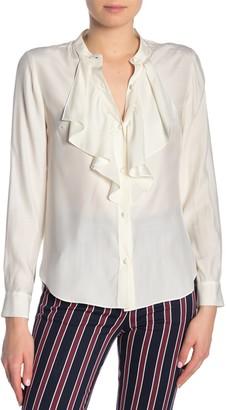 Frame Silk Cascade Button Down Blouse