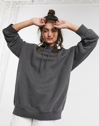 Monki Bae oversize hoodie in dark gray