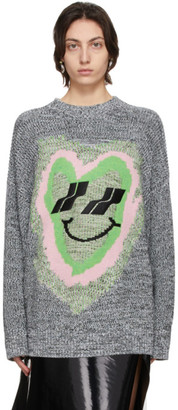 we11done Black and White Jacquard Heart Graphic Sweater