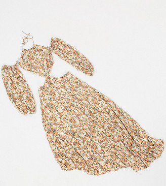 Dark Pink cold shoulder asymmetric hem dress with cut out detail in mixed rose print