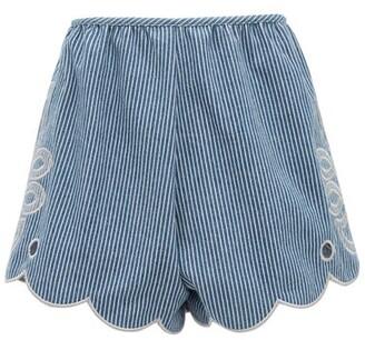 Innika Choo Cleo Scalloped-hem Striped Cotton Shorts - Blue Stripe