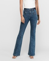 Express Super High Waisted Denim Perfect Slim Flare Leg Jeans