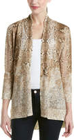 Magaschoni Silk & Cashmere Blend Burnout Long Sleeve Cardigan
