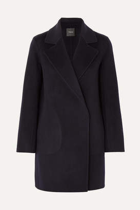 Theory Boy Wool And Cashmere-blend Coat - Navy
