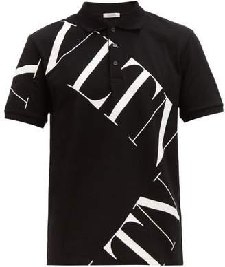 Valentino Logo-print Cotton-pique Polo Shirt - Mens - Black