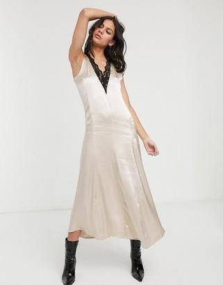 Levete Room satin slip midi dress with lace trim