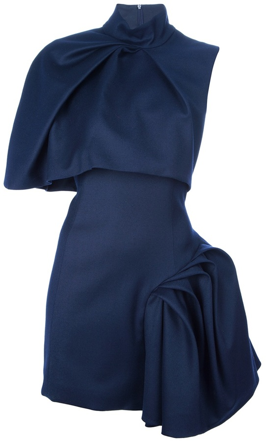Amaya Arzuaga draped pleat dress