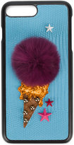 Dolce & Gabbana ice cream iPhone 7 Plus case - women - Calf Leather/Rabbit Fur/Polyester/Viscose - One Size