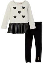 Juicy Couture Pleather Bottom Tunic & Legging Set (Little Girls)