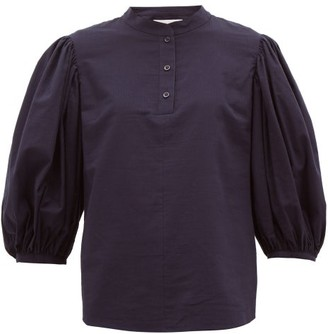 See by Chloe Puff-sleeved Cotton Blouse - Womens - Dark Navy