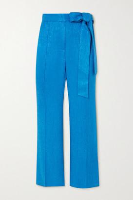 USISI SISTER Jenna Cropped Bow-detailed Jacquard Slim-leg Pants - Azure
