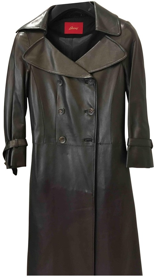 Brioni Brown Leather Coat for Women