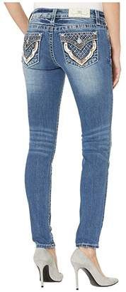 Miss Me Quilted Pocket Hailey Skinny Jeans in Medium Blue