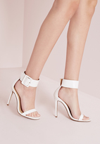Missguided Buckle Trim Barely There Heeled Sandals White