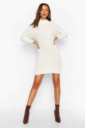 boohoo Tall Ribbed Knitted Jumper Dress