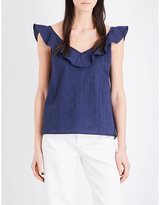 MiH Jeans Veeba ruffled cotton and linen-blend top