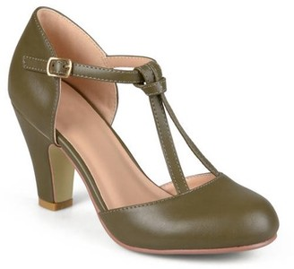 Brinley Co. Womens Knot Round Toe T-strap Matte Mary Jane Pumps