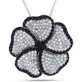 Catherine Malandrino Black And White Flower Pendant W/chain.