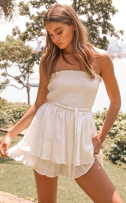Showpo Mutual Love Playsuit in white - 6 (XS) Off The Shoulder