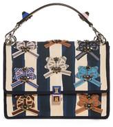 Fendi Kan I Embellished Ribbon Shoulder Bag - Blue