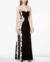 Betsy & Adam Lace Mesh-Inset Gown