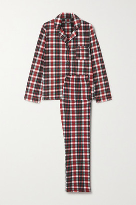 DKNY Checked Fleece Pajama Set - Red