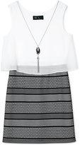 Amy Byer Bonded Lace Dress & Necklace Set, Big Girls (7-16)