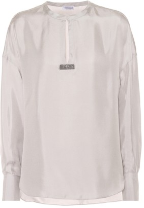 Brunello Cucinelli Embellished silk twill top