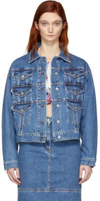 MSGM Blue Denim Multiple Pockets Jacket