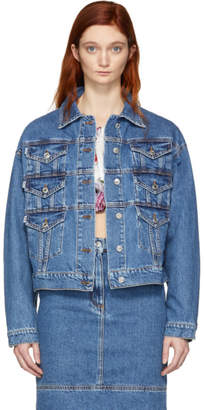 MSGM Blue Denim Multiple Pockets Jacket