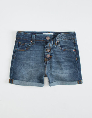 RSQ High Rise Cuff Girls Dark Wash Shorts