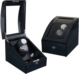 Lindberg & Sons watchwinder and watchbox for two automatic watches with stowage for three additional wrist watches Black Wood Synthetic Leather LED - UB8077blbl