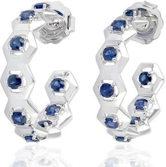 Artisan 18Kt Solid White Gold Blue Sapphire Hoop Earrings