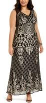 R & M Richards Plus Size Gold-Tone Sequin Gown