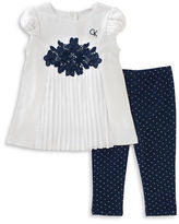 Calvin Klein Two-Piece Embroidered Tunic and Dot Printed Leggings Set