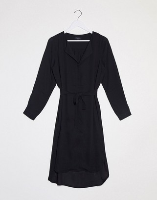 Selected nella long sleeve tie waist shirt dress in black