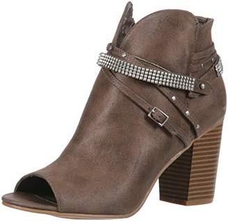 Rampage Women's Meera Peep Toe Rhinestone Glitz Buckle Strap Block Heel Ankle Bootie Boot