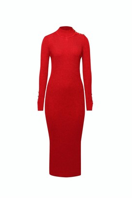 Adriana Maxi Ribbed Wool Dress In Scarlet