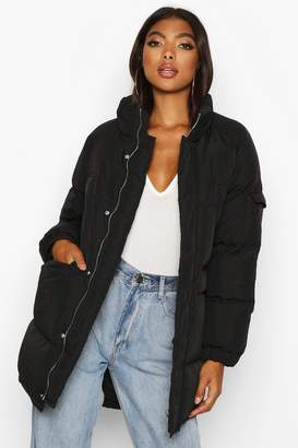 boohoo Tall Lined Padded Coat