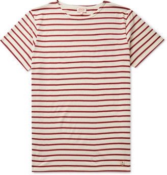Armor Lux Striped Cotton-Jersey T-Shirt - Men - Red