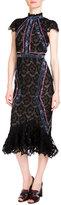 Erdem Philomena Cap-Sleeve Lace Midi Dress, Black