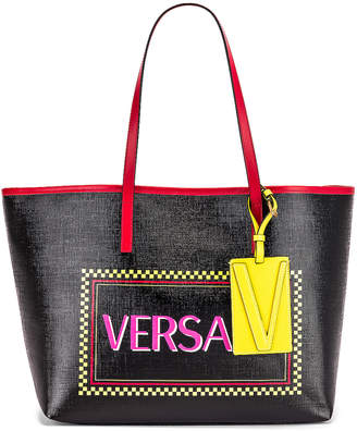 Versace Logo Tribute Tote in Black & Multicolor | FWRD